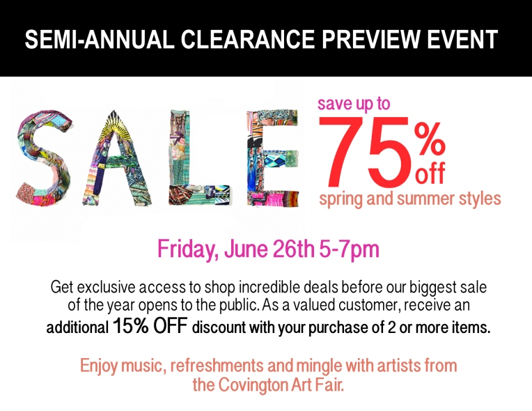 Clearance Sale Preview Party Art Show Email June 2015 SYMMETRY