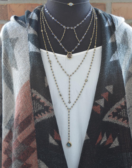 Come see our newest jewelry line Ela Rae. We 💖 how these delicate necklaces make a statement! #ootd #layerednecklace #cape #FallFashion