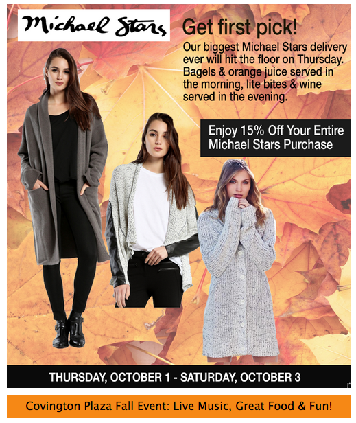 "New Michael Stars Has Landed... and Won't Last Long | Join Us for An ""Out of The Box"" Michael Stars Shopping Party this Thursday"